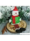 Мягкая игрушка Зимнее волшебство Снеговик искорка 28 см (зеленый)