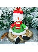 Мягкая игрушка Зимнее волшебство Снеговик в зелёном кафтане 33 см (зеленый)